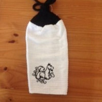Embroidered Scottish Terrier Hanging Dish Towel With Hand Knitted Topper and Ties