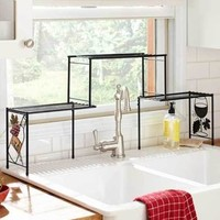 Over The Sink Rack Shelf Wine Grapes Themed Kitchen Decor Fits Tall Faucets