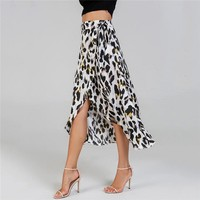 Waist Knot Leopard Print Women Skirt Mid Waist Ladies Shift Skirts Casual Womens Clothing Midi Skirt