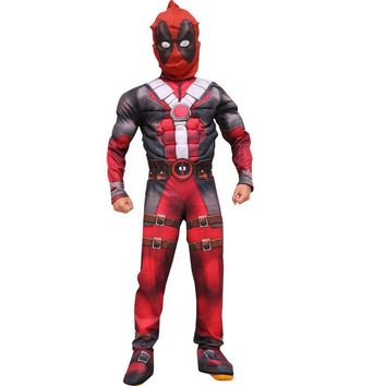 Deadpool Dead pool Taco Halloween  Cosplay Costume Muscle Party Dress with mask Onesuit red Carnival Svengers Clothing For Kids AT_70_6