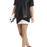Black BCBG Charnet Short-Sleeve Leather Jacket