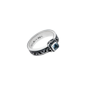 Victorian Sterling Silver And Blue Topaz Spin Ring