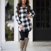 Check Tunic Dress - Black and Ivory