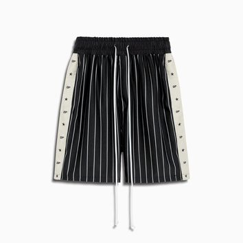 track team gym short / black stripe + ivory