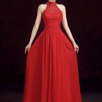 High Neck Prom Dress,Red Prom Dress,Long Evening Dresses