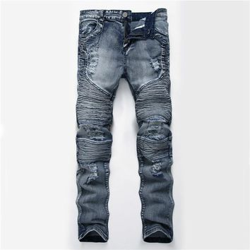 2017 Denim Jeans Ripped Hole Distressed Biker Jeans Stretch for Men Motorcycle Pants Skinny New Brand Slim Jeans Plus Size 40 42