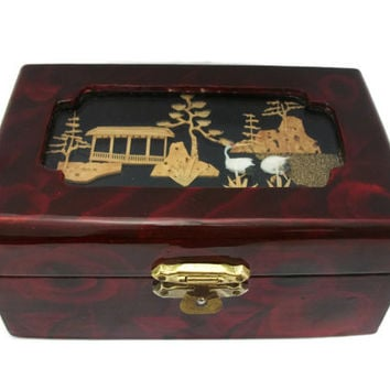 Chinese Carved Cork Scene Trinket Box - Hinged Lid Lacquered Wood Red Roses Flowers Floral Fabric Lined Lining - Peoples Republic of China