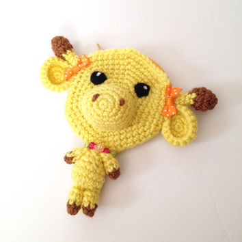 Amigurumi Giraffe Crochet Giraffe Crochet Pouch Yellow Pouch Kawaii Animal Accessory Giraffe Accessory Unique Gift Idea Valentine's Day Gift