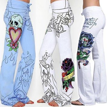 Women Wide Leg Pants Causal Woman Baggy Skull