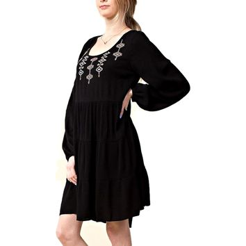 Embroidered Smock Dress,  Black