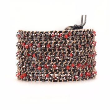 Red Crystals and Seed Beads on Black
