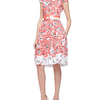 Oscar de la Renta Cap-Sleeve Flower Dress with Pockets, Granita