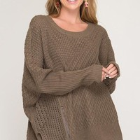 OSFA Oversized Cable Knit Sweater Poncho - Mocha