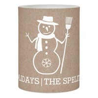 White snowman cardboard modern rustic Christmas Flameless Candle