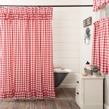 Annie Red Buffalo Check Ruffled Shower Curtain