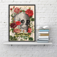 Skull Art Print - CARPE DIEM - Roses Skull Tatoo -Wall Art Book Print on Vintage Dictionary Page,wall hanging, wall decor poster art