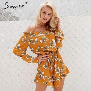 Simplee Floral print off shoulder jumpsuit romper Women sexy hollow out ruffle bow playsuit Summer beach long sleeve overalls