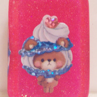 Kawaii Girl Bear with Ice Cream Resin Magnet Neon Pink Glitter