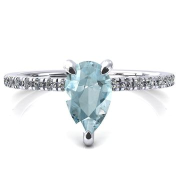 Ezili Pear Aqua Blue Spinel 3 Claw Prong Micro Pave Diamond Sides Engagement Ring
