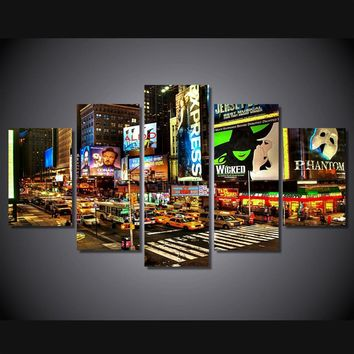 New York Times Square 5 piece wall art canvas