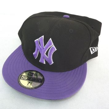 New Era 59Fifty NY Yankees Baseball Cap Black Purple Size 7 7/8 62.5cm Hat NEW