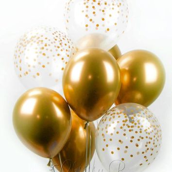 Gold Chrome Confetti Balloon Bouquet - Mix of 8 Latex Balloons in New Chrome Gold and Confetti-Printed Balloons - Confetti Balloons