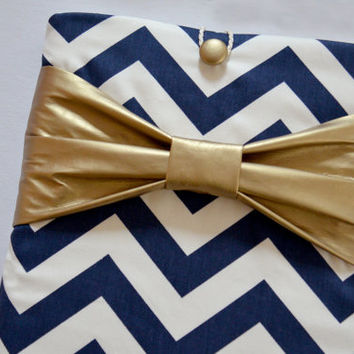 "Macbook Pro 15 Sleeve MAC Macbook 15"" inch Laptop Computer Case Cover Navy & White Chevron with Yellow Bow"