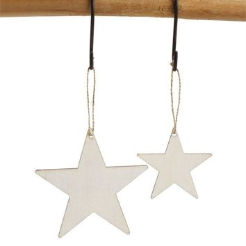 Wood Star Ornaments/Hangtags, Set of 24