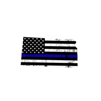 Kansas Distressed Subdued US Flag Thin Blue Line/Thin Red Line/Thin Green Line Sticker. Support Police/Firefighters/Military
