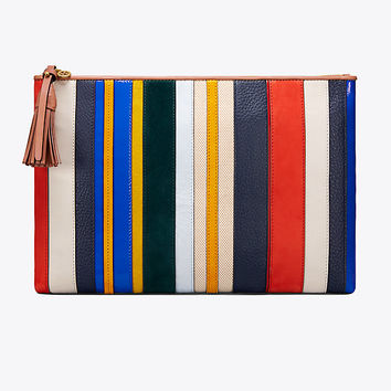 Tory Burch Stripe Large Pouch