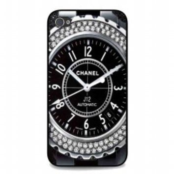 Diamond Chanel Watch for iphone 4 and 4s case