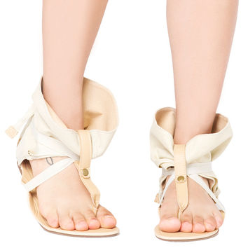 Ankle Wrap Flat Thong Sandals - Nude