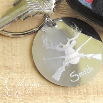 Hunting Gifts for Men, Personalised Keyring, Custom Keychain, Stainless Steel, Antlers, Personalised Gift, Boyfriend Gift, Husband Gift