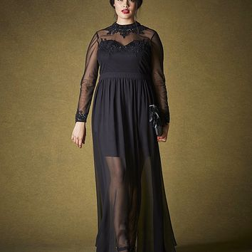 Simply Be Sheer Hem Maxi Dress | SimplyBe US Site