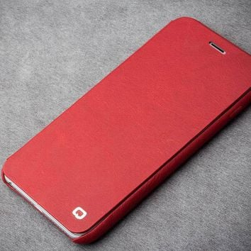 QIALINO New Style High Quality Flip Cover for iPhone 6 6s Ultra slim Real Leather Pure Handmade Case for iPhone6 / 6s plus