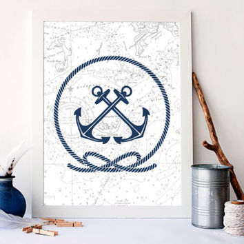 Vintage map nautical art, anchors art print, vintage nautical home decor, nautical bathroom art, nautical poster, beach decor, A-1071