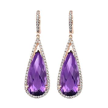 15.02tcw Pear Amethyst with Diamonds in 10K Rose Gold Dangle Drop Earrings