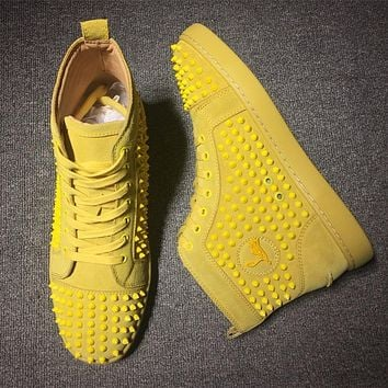 Cl Christian Louboutin Louis Spikes Mid Style #1802 Sneakers Fashion Shoes - Best Deal Online