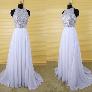 Shining white long sequined beaded bridesmaid dress,chiffon backless prom dress,formal dress with rhinestones,junior bridesmaid dress DP108