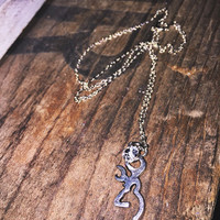 Dainty Browning Buckmark Charm And Jewel Necklace for Hunting Country Girl