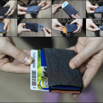 DENIM Slim Wallet, Minimalist Wallet, Womens Wallet, Mens Wallet, RFID Blocking