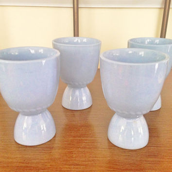 Vintage Fluted Egg Cups / (4) Blue Ceramic Double Sided Egg Cup Set