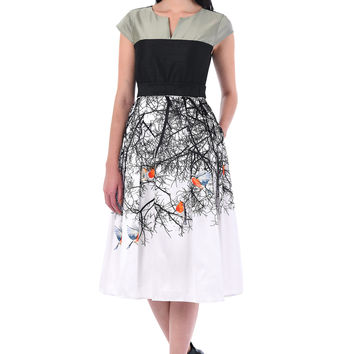BIRDS IN BRANCHES PRINT DUPIONI COLORBLOCK DRESS