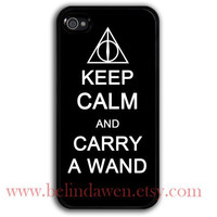 iPhone 4 Case, iphone 4s case, keep calm and carry a wand iphone 4 case, harry potter, Deathly Hallows
