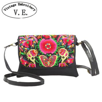 Vintage Embroidery Women's Leather Shoulder Messenger Bag Boho Flower