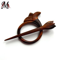 Wooden Shawl Pin, Tulip, Hair Barrette, Hair Slider, Hair Clip, Scarf Pin, Hair Stick, Wood Carving, Designed and Handmade by MariyaArts