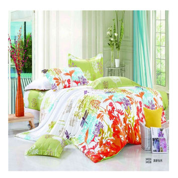 Bed Quilt Duvet Sheet Cover 4PC Set Upscale Cotton 100% 022