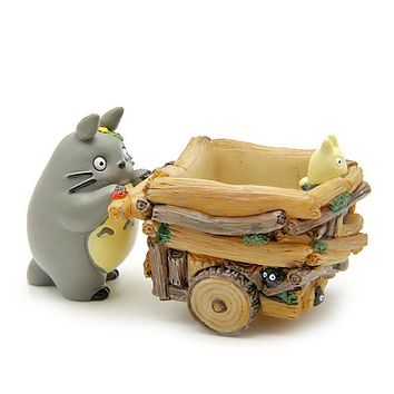 Studio Ghibli My Neighbor Totoro Toys Cute 5cm Totoro Push Car Resin Action Figure Collection Model Toy for Kids Gift Home Decor