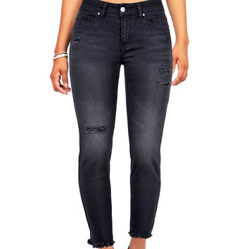 Clash Fray Ankle Skinny Jeans