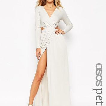 ASOS Petite | ASOS PETITE Draped Plunge Cut Out Maxi Dress at ASOS